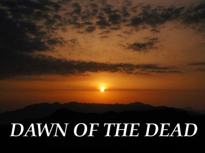 ゾンビ映画名作ゾンビイメージ画像、夜明けの空