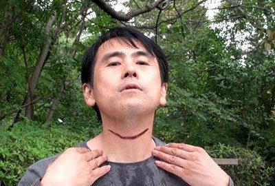 「屍池の切り裂き男 完全版」傷口メイキング写真。